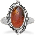 Leaf Design Green Amber Ring in Sterling Silver