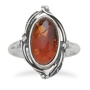 Leaf Design Amber Ring in Sterling Silver