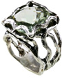 Green Amethyst Openwork Sterling Silver Ring