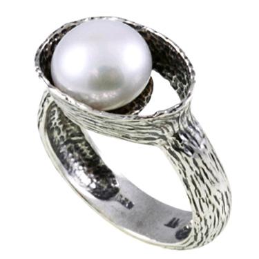 Pearl Openwork Bezel Sterling Silver Ring