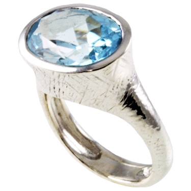 Handmade Textured Oval Blue Topaz Sterling Silver Ring