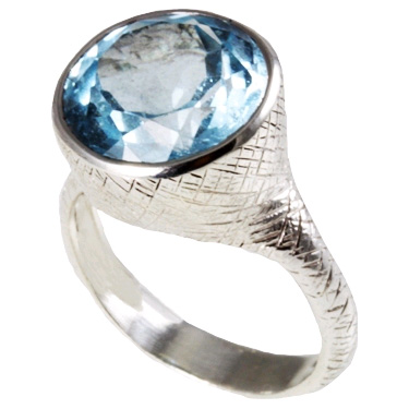 Handmade Textured Round Blue Topaz Sterling Silver Ring
