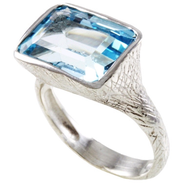 Handmade Textured Rectangle Blue Topaz Sterling Silver Ring