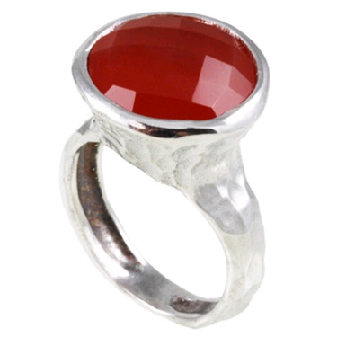 Hammered Carnelian Ring in Sterling Silver
