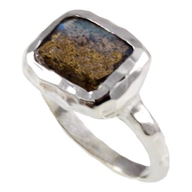 Rectangle Labradorite Sterling Silver Ring