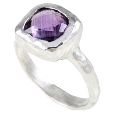 Hammered Purple Ocean Sterling Silver Amethyst Ring