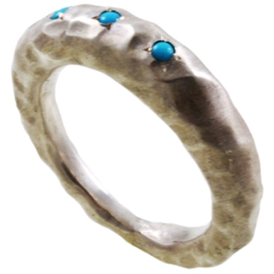 Turquoisee Organic Hammered Sterling Silver Band
