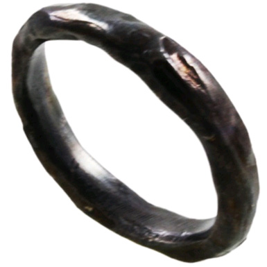 Oxidized Organic Sterling Silver Hammered Band - Size 7