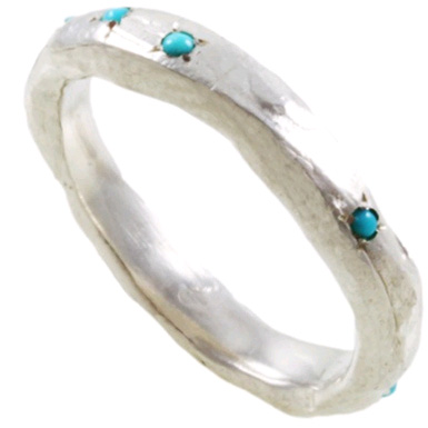 Turquoisee Organic Sterling Silver Band
