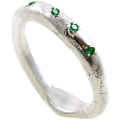 Organic Sterling Silver Emerald Band