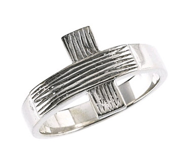 Men's Rustic Cross Ring in Sterling Silver