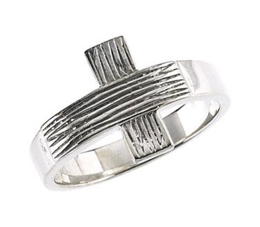 Men's Rustic Cross Ring in Sterling Silver