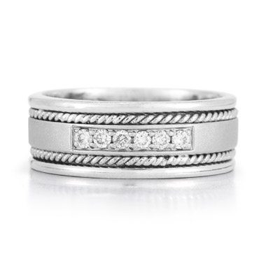 Sterling Silver and Diamond Wedding Band