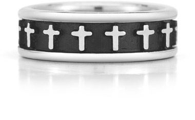 14K White Gold Cross Ring