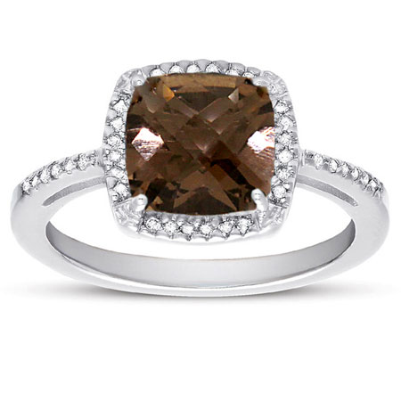 2.60 Carat Antique-Square Cut Smoky Quartz and Diamond Halo Cocktail Ring in Sterling Silver