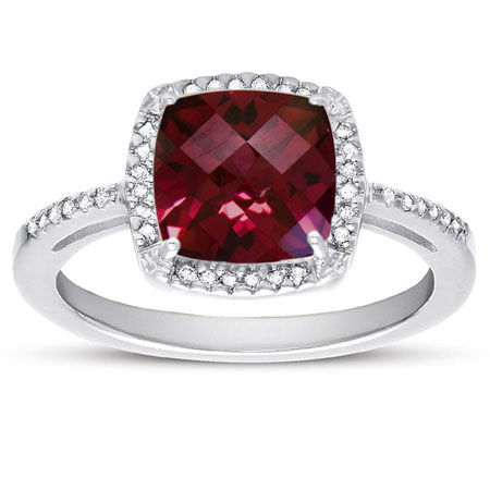 Checker-Board Cushion-Cut Garnet and Diamond Halo Ring in Sterling Silver