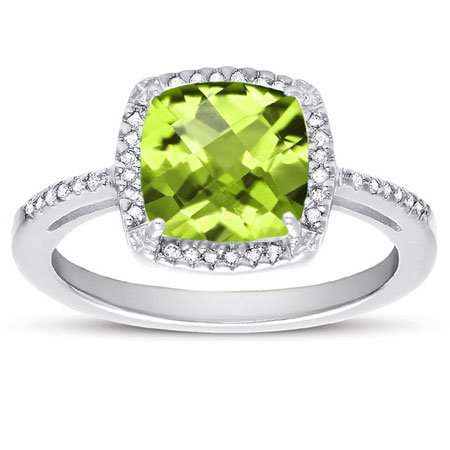 Checkerboard Cushion-Cut Peridot and Diamond Ring in Sterling Silver