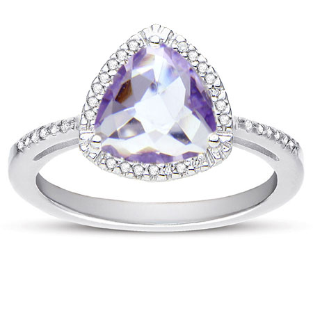 Checkerboard Trillion-Cut Amethyst and Diamond Halo Ring in Sterling Silver