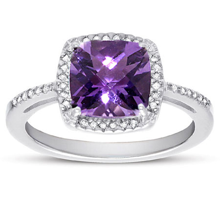2.60 Carat Cushion-Cut Amethyst and Diamond Halo Cocktail Ring in Sterling Silver