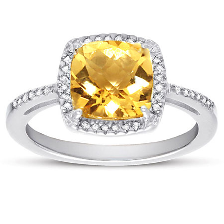 2.60 Carat Cushion-Cut Natural Citrine and Diamond Halo Cokctail Ring in Sterling Silver