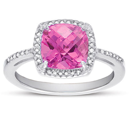 Cushion-Cut Pink Topaz and Diamond Halo Ring in Sterling Silver