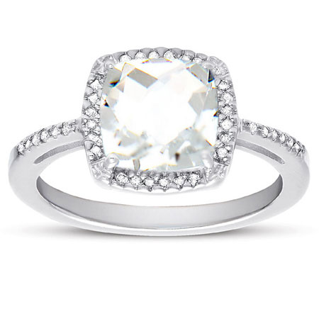 Cushion-Cut White Topaz and Diamond Halo Ring
