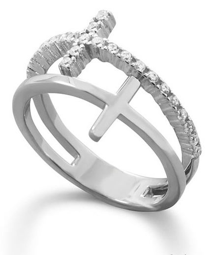 Double Cross CZ Ring in Sterling Silver