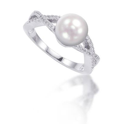 Freshwater Pearl and Diamond Swirl Ring in Sterling Silver