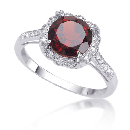 1.79 Carat Garnet and Antique-Style Diamond Halo Ring in Sterling Silver