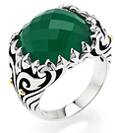 Green Agate Cocktail Ring in Antiqued Sterling Silver