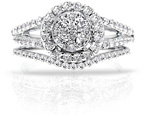 1.35 Carat Halo Illusion-Set Diamond Bridal Engagement Ring Set in 14K White Gold