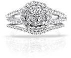 1.35 Carat Halo Illusion-Set Diamond Bridal Engagement Ring Set in 14K White Gold