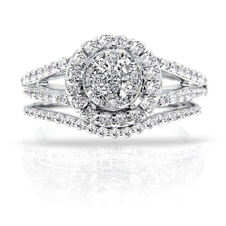 Delicieux 1.35 Carat Halo Illusion Set Diamond Bridal Engagement Ring Set In 14K  White Gold