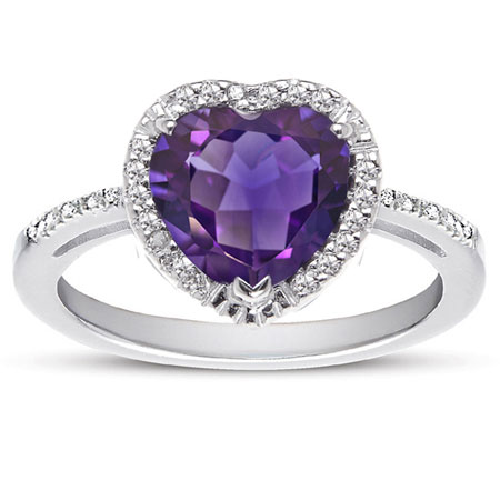 1.70 Carat Heart-Shaped Amethyst and Diamond Halo Ring in Sterling Silver