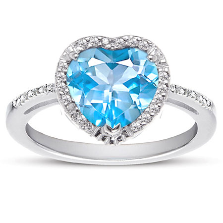 Heart Shaped Blue Topaz and Diamond Halo Ring in Sterling Silver