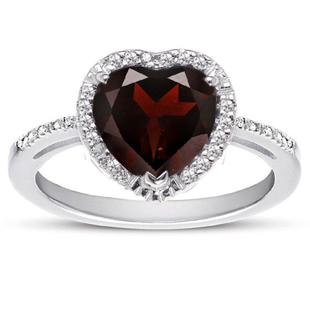 1.70 Carat Heart-Shaped Garnet and Diamond Halo Ring in Sterling Silver