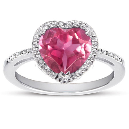 1.70 Carat Heart-Shaped Pink Topaz and Diamond Halo Ring in Sterling Silver