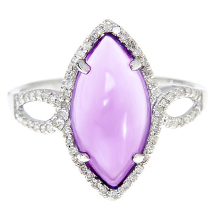 Marquis-Shaped Amethyst Cabochon and Diamond Ring in Sterling Silver