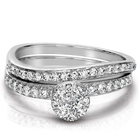 0.61 Carat Modern Wave Diamond Bridal Ring Wedding Set in 14K White Gold