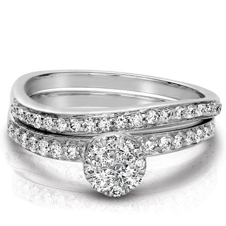Modern Wave Diamond Bridal Ring Wedding Set