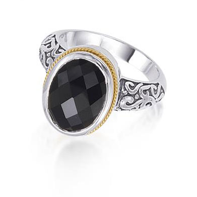 4.78 Carat Onyx Quartz Ring in Sterling Silver with 18K Yellow Gold