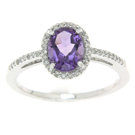 Oval Amethyst and Diamond Halo Ring in Sterling Silver