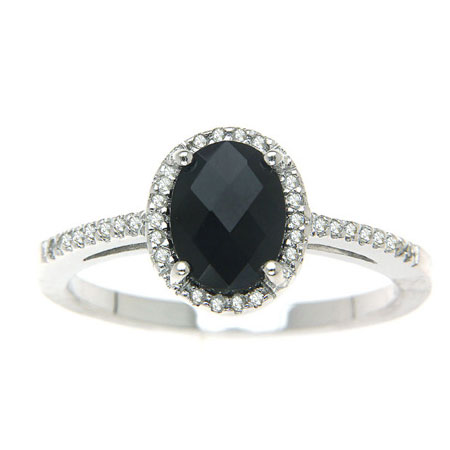 Oval Black Onyx and Diamond Halo Ring in Sterling Silver