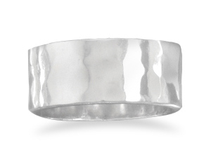 8mm Hammered Sterling Silver Ring