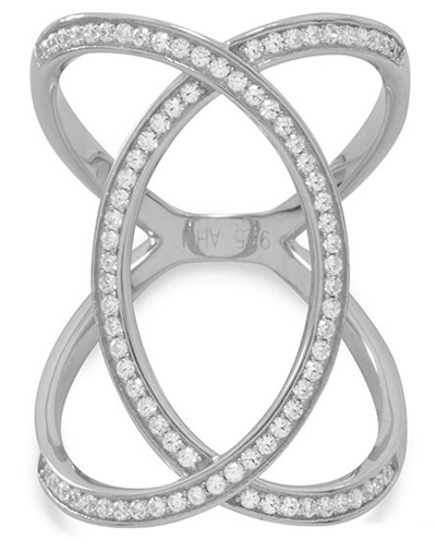 Silver Overlap CZ Ring