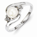 6mm Freshwater Cultured Button Pearl & Diamond Ring, Sterling Silver