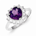 Amethyst Gemstone and CZ Heart Ring, Sterling Silver