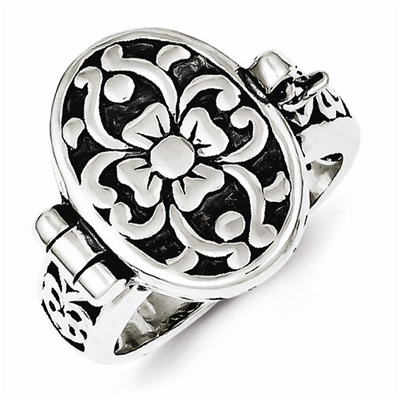 Antique Flower Locket Ring in Sterling Silver