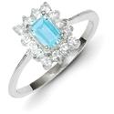 Emerald-Cut Blue Topaz Gemstone & CZ Ring, Sterling Silver
