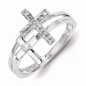 Sterling Silver Diamond Crosses Ring
